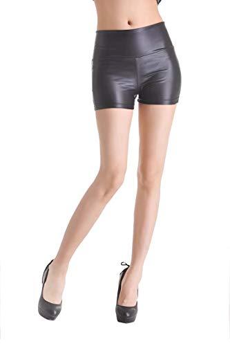 Sodacoda Damen Hot-Pants Leder Optik - Mini-Shorts Sexy Wet-Look Schwarz (M)