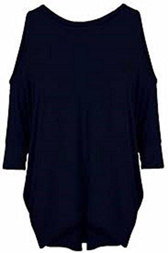 Da donna, maniche a pipistrello Cut Out Cold Shoulder maglietta a maniche lunghe Top Tunica dress 8–26 Black