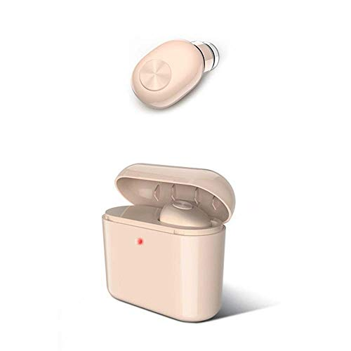 ETH Drahtloser Bluetooth-Einzelohr-Kopfhörer Mini Invisible with Charging Box Langer Bereitschaftssport, Der Bluetooth-Kopfhörer Fährt intelligent (Color : Pink)