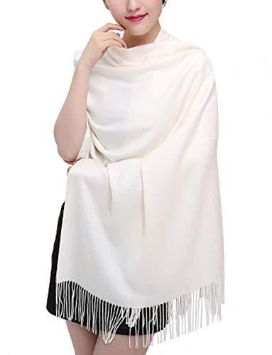TFENG Damen Schal, 19 Farben Frauen Weich Elegant Stola Schal Tuch, übergroßer Deckenschal Herbstschal Winterschal, Cream