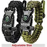 Preisvergleich Produktbild A2S Protection Paracord Armband K2-Peak - Survival Gear Kit mit integriertem Kompass,  Feuerstarter,  Notfallmesser & Pfeife (Schwarz / Grün)