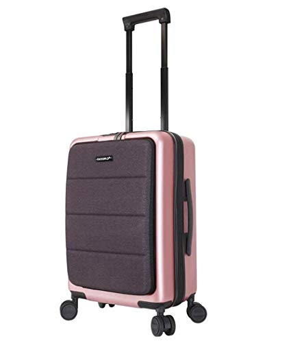 Schwarz Hardside Gepäck (TINGTING Hardside Spinner Gepäck-PC Mittlerer Koffer Schwarze Koffer Gepäckset mit TSA-Schloss Anti-Scratch Leichter 4-Rad-Hartschalen-Reise-Spinner-Koffer 20 Zoll,Pink)