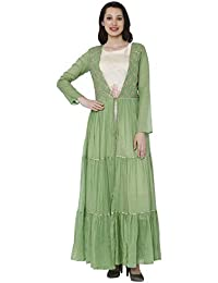Raisin Green & Cream Cotton Muslin Dress with Jacket