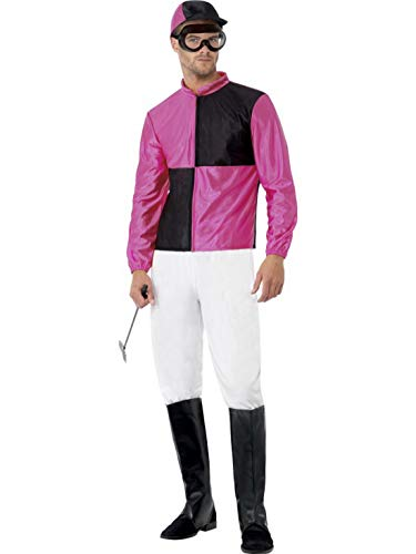 Fancy Ole - Herren Männer Männer schwarz rosa Rennreiter Pferde Jockey Kostüm mit Oberteil, Hose, Stiefelüberziehern, Hut & Brille, perfekt für Karneval, Fasching und Fastnacht, L, Rosa