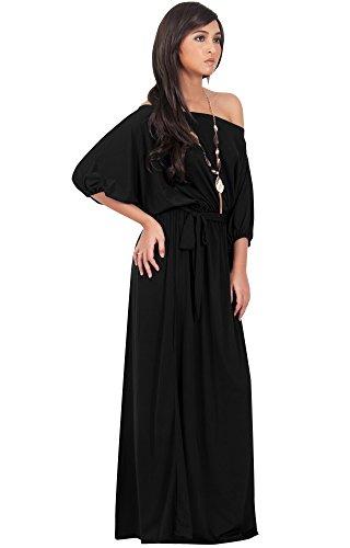 KOH KOH® Femmes Robe Longue Manches 3/4 Épaule Nue Noir