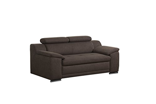 Cavadore 2-Sitzer Sofa Aniamo mit verstellbaren Kopfteilen / Kleines Sofa, modernes Design / Größe: 180 x 80 x 95 cm  (BxHxT) / Farbe: Braun