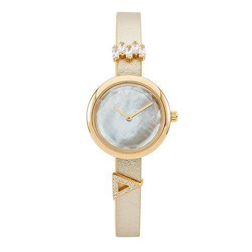 WANSIRUI Damen Quarzuhr, einfache dünne Lederband Damenuhren schmale echte Lederband Quarzuhr Mädchen Mode ultradünne Armbanduhren (Color : Beige) -