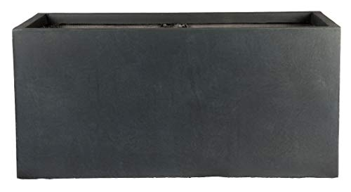 Contemporary Narrow Dark Grey Reinforced Concrete Washed Trough Planter L100 W47 H47