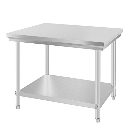 VEVOR Arbeitstisch 24 x 36 Inch Edelstahl Arbeitstisch Arbeitstisch Küche Stainless Steel Work Table (24 x 36 Inch)