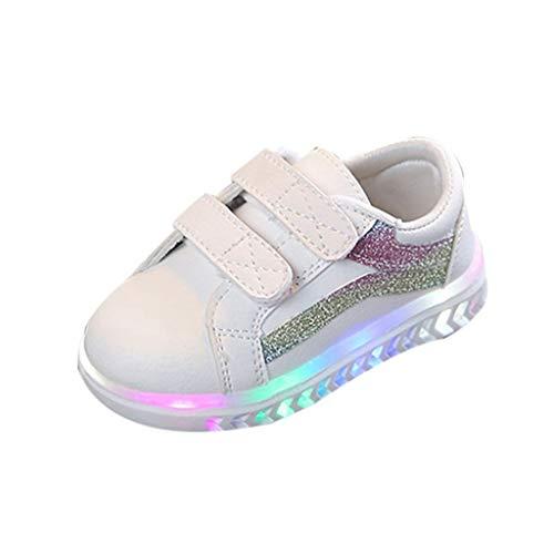 BoyYang Unisex Kinder Schuhe LED Licht Sequin Schuhe Babyschuhe Krabbelschuhe Turnschuhe Lauflernschuhe Sneaker Weiche Sohle Lederschuhe Erste Kinderschuhe Kleinkind für Mädchen Jungen 24