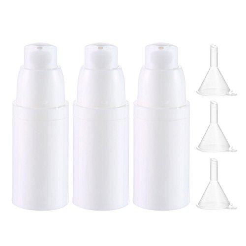 Aolvo 3 Stück 15 ml Airless Vakuumpumpumpe Reiseflaschen leer tragbar nachfüllbar Kunststoff Creme...