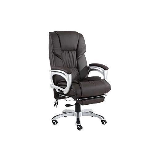 RENJUN Drehstuhl PU liegend Aufstieg Mittagspause Stuhl Heimbüro Computer Stuhl Drehstuhl (Color : Dark Brown) -