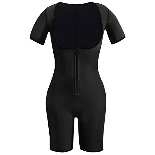 HotYou Damen Neopren Abnehmen Sauna Schwitzanzug Ärmeln für Gewichtsverlust Full Body Shaper,Schwarz,S -