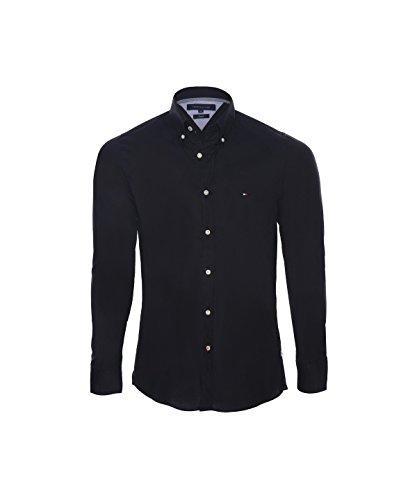 Tommy Hilfiger -  Camicia Casual  - Attillata  - Basic - Maniche lunghe  - Uomo nero Small