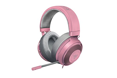 Razer Kraken Pro V2 Oval Quartz Edition Musik und Gaming Kopfhörer (für PC und PS4, 50 mm Audiotreiber, Robuster Unibody-Rahmen und Komfortable ovale Ohrpolster), Rosa