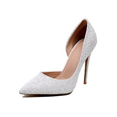 WSX&PLM Da donna-Tacchi-Matrimonio Serata e festa-Scarpe e borse abbinate-A stiletto-Lustrini-Blu Bianco Tessuto almond white