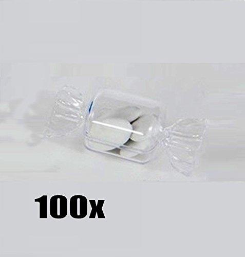 Stock 100 pezzi scatola in plexiglass per bomboniera confetti a forma di caramella
