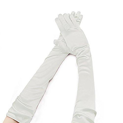 little sporter Elegante Satin Handschuhe Damen Handschuhe Braut Ellenbogenlange Handschuhe 55cm Satin Stretch Handschuhe Für Hochzeit Abendveranstaltung Weiß