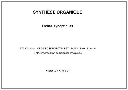 Synthèse organique : fiches synoptiques : BTS Chimiste-CPGE PCSI/PC/PC*/BCPST-DUT Chimie-Licence-CAPES/Agrégation de Sciences Physiques