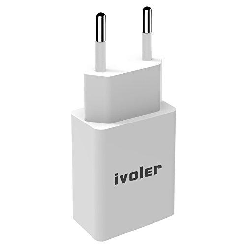 iVoler USB Ladekabel 2M + 2.4A Netzteil Netzstecker, Slim USB Wand-Ladegerät Reise Adapter Ladeadapter Charger Ladestecker Netzteil für iPhone, iPad, iPod, Samsung Galaxy und Android Geräte - Weiß (Ipod 5. Generation Ac Adapter)