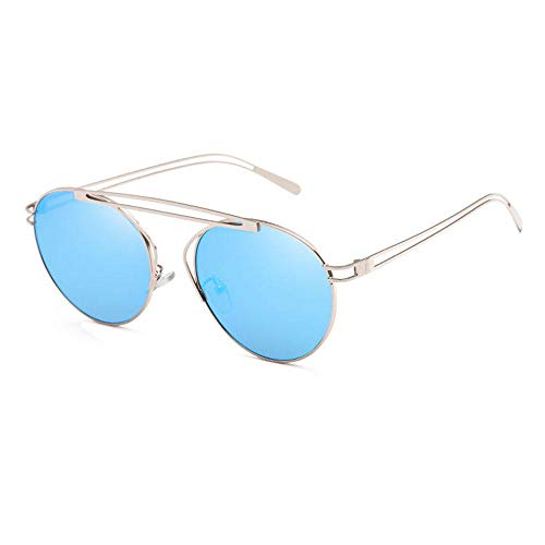 uliaadela Sonnenbrille für Herren und Damen Aviator Polarized Metal Mirror UV 400 Lens Protection, Ice blue