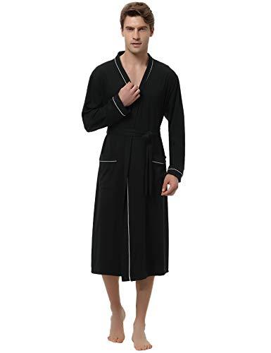 Aibrou Accappatoio Uomo Inverno Lungo,Vestaglia Uomo di Cotone, Pigiama Kimono Autunno Uomo con Cintura, Camicia da Notte Uomo Invernale per Spa Hotel Casa