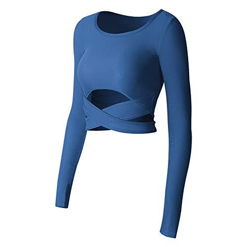 Sportbekleidung Fitness Sport Frauen Fitness Weiß Yoga Crop Tops Yoga Shirts Langarm Workout Tops Fitness Laufen Sport T-Shirts Training Yoga Sportswear (Fila Jacke Frauen Fleece)