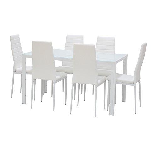 EBS Conjunto de Muebles Juego de Comedor Sillas de Piel Sintética Mesa de Cristal con Patas de Metal - Blanco/6 Sillas y una Mesa