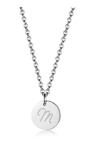 BE STEEL Edelstahl Halskette für Herren Damen Alphabet Halskette Initiale Kette Männer Buchstaben M Silberton 46+5CM