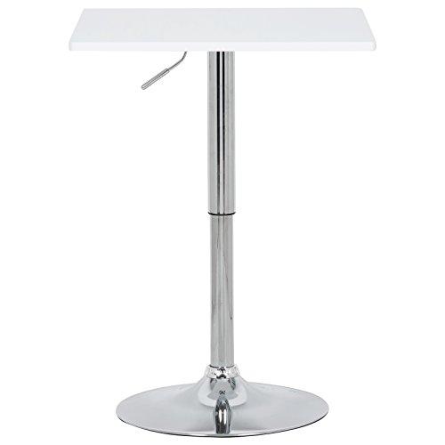 EUGAD Bartisch Bistrotisch, 1 x Weiß, Partytisch, Design Tisch mit Trompetenfuß, drehbare Tischplatte aus Robustem MDF, höhenverstellbar, Dekor,BT03ws
