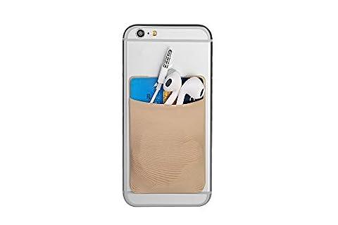 Cerbery® | Smartphone Kartenhalter | Auto Case Etui Fingerhalter Fitness Folie Halter Halterung Handy Hülle Kartenhülle Kopfhörer Sport | Apple iPhone 7 8 X Samsung Galaxy S8 (Beige)