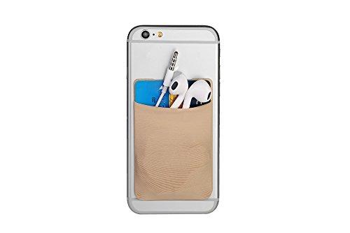 Cerbery® | Smartphone Kartenhalter | Auto Etui Fingerhalter Fitness Folie Halter Halterung Handy Hülle Kartenhülle Kopfhörer Sport | Kompatibel mit Apple iPhone 7 8 X Samsung Galaxy (Beige)