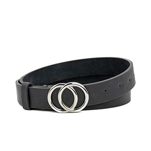 Dayfa® klassischer Damen Gürtel mit zwei Ringen Schnalle und Unifarben für jeder Outfit (Schwarz, 90cm) 1975-2