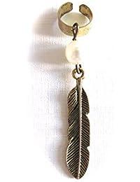Réf050 BO.802 - Boucle D'oreille Femme - Bague D'oreille Ear Cuff - Perle Plume Métal Doré Vieilli