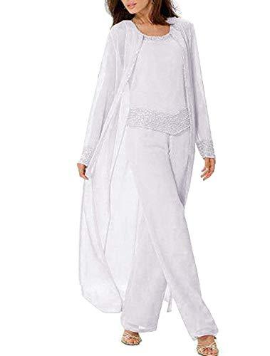 LoveeToo Frauen DREI Stücke Mutter der Braut Kleid Hosenanzug Mit Jacke Chiffon Abendkleid Anzüge Für die Hochzeit(EUR54,Weiß)