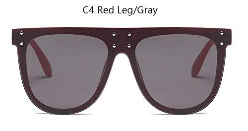 LAMAMAG Sonnenbrille Flat Top Sonnenbrille Übergroße Brille Herren Platz Sonnenbrille Frauen Rivet Black Eyewear Gafas De Sol, 4