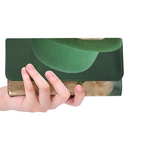 Einzigartige benutzerdefinierte golden Retriever Saint Patricks Tag kostüm Frauen Trifold Wallet Lange geldbörse kreditkarteninhaber case Handtasche (Benutzerdefinierte Kostüm Frauen)