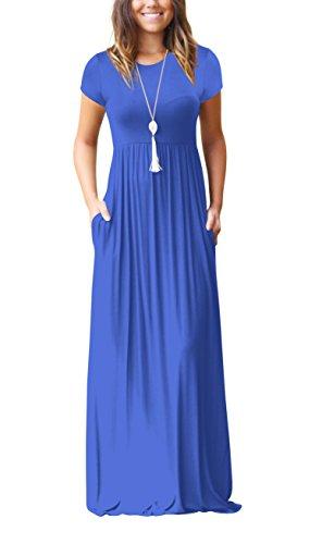 ZIOOER Damen Casual Lose Maxikleider Kurzarm Kleider Lange Kleid mit Taschen Blau L