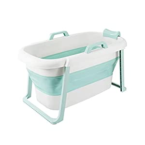 Folding Bathtub Baby Swimming Portable Adult Plastic Bath Tub Foldable Large Non-Inflatable Laundry Pool Home,Blue 1