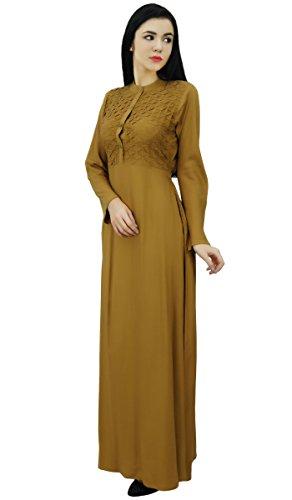 Bimba col mandarin robe de jilbab des avec des poches pleines maxi manches Marron Clair
