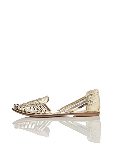 Find. sandali in pelle intrecciata donna, oro (metalic), 39 eu
