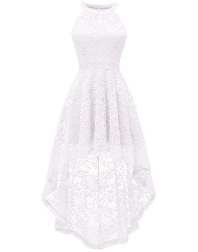 Berylove Damen Cocktail Bautjungfern Kleid Vokuhila Spitzenkleid Blumenmuster Einfarbig BLP7028WhiteL (Kurze Prom Kleider Weiße)