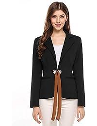 20e74a715c32 Damen Blazer Mode Elegante Normallacks Business Jacke Herbst Frühling  Vintage Anzugjacke Langarm Riemchen Office Slim Fit