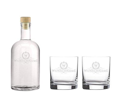 Edle Whisky Karaffe / Whisky Flasche 'Claus' inkl. persönlicher Gravur - wahlweise mit bis zu 6...