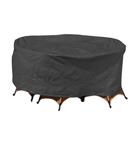 zhbotaolang Garden Large Furniture Patio Cover - Waterproof Round Sofa Set Slipcover Table Chairs Protector (Schwarz,200 * 94 cm) (Round Table Cover Elastisch)
