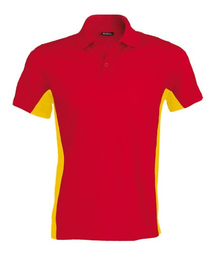 Poloshirt in Kontrastfarben Red/Yellow