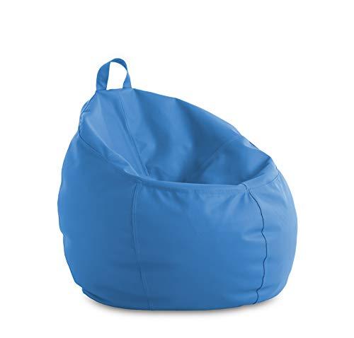 textil-home Puf - Puff Cesta Infantil moldeable - L - 60x60x60 cm- Color Azul. Tejido Polipiel Alta Resistencia - Doble repunte - (Incluye Relleno Bolas Poliestireno).