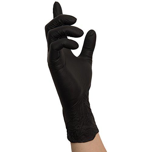 Nitrilhandschuhe 100 Stück Box Einweghandschuhe, Einmalhandschuhe, Untersuchungshandschuhe, Nitril Handschuhe, puderfrei, unsteril, latexfrei, puderfreie und unsterile Kochhandschuhe Tätowierhandschuhe Tattoo Handschuhe (L, schwarz)