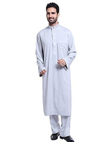 GladThink Männer Thobe mit langen Ärmeln Arabisch Muslim Wear Kalb Länge LIGHTGrau XXL
