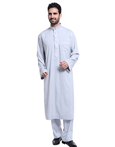 GladThink Hombres Thobe con Mangas largas Arab Muslim Wear Medio Corto LIGHTGris S